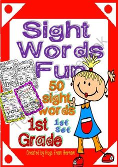 Sight Words Fun in First Grade Set 1 (50 words - B&W and color version) from magischool on TeachersNotebook.com (105 pages) - Sight words are important in the process of children's learning . Words need to be read and written so I try to make these worksheets to practice sight words in the class or at home.