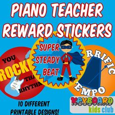 Printable Piano Teacher Reward Stickers by KeyboardKidsClub, $5.00