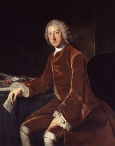 "William Pitt, later known as ""Pitt the Elder"", painted by William Hoare in 1754. This was the year he married Lady Hester Grenville."