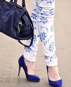 Floral print jeans DIY - blue  pumps and bag by ...love Maegan, via Flickr
