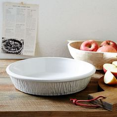 This Pie Dish is a result of our collaboration with Woodstock, Vermont-based design company Farmhouse Pottery.
