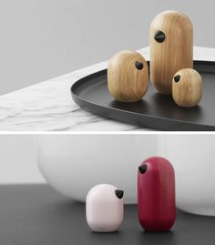 Simple in design with the inclusion of small black beaks, these modern wood bird figures hit wonderfully minimal.