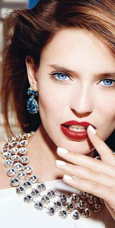 Bianca Balti jewelry and baubles - earrings and necklace