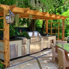 Pergola Covered Stainless Steel Outdoor Kitchen