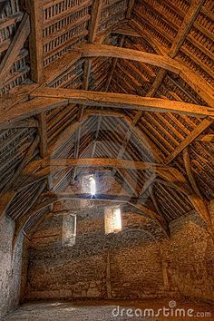 Interior of a medieval tithe barn in the village of Lacock in Wiltshire England