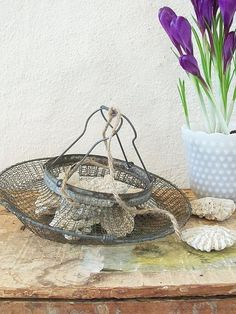 French Egg Basket, Antique Wire Mesh Berry Basket