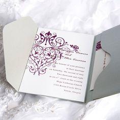 Gorgeous Purple And Silver Pocket Wedding Invitation AUPS026- Invitation Cards Australia