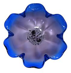 Vtg Italian Murano Art Glass Sommerso Blue Purple Lavender Dish Bowl Pedestal | eBay