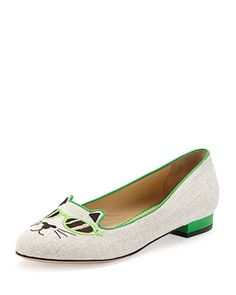 Saturday, April 5th: Charlotte Olympia Sunkissed Kitty Canvas Flat, Green, 212 872 8940