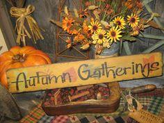primitive fall decorating | Primitive Fall Sign Autumn Gatherings Wood Wall Decor Leaves Fall Prim