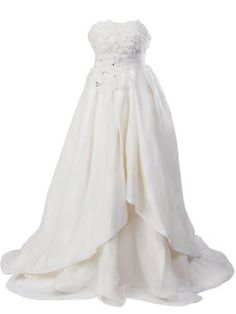 Artwedding Rosette and Rhinestone Satin Ball Gown Formal Prom Wedding Dress,Ivory --- http://www.pinterest.com.tocool.in/iy