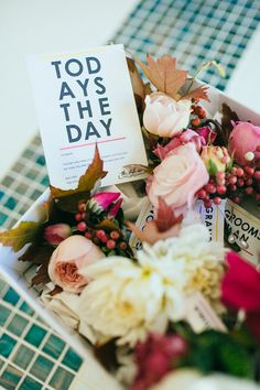 boutonnieres + paper goods, photo by Love Katie + Sarah http://ruffledblog.com/fruit-packing-shed-wedding #flowers #papergoods