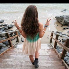 beaches, summer dresses, long hair, beach houses, peace signs, at the beach, beach time, brown hair, beach styles