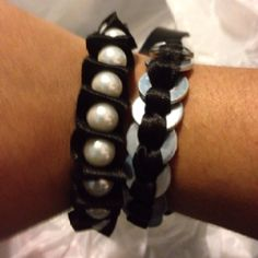 The washer and pearl ribbon bracelets together. (I made these)