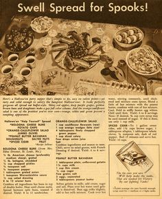 Vintage 1943 wartime Kroger Halloween Recipe spread. #Halloween #party #food #1940s #vintage #recipes