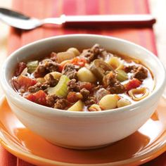 Zesty Hamburger Soup Make Ahead Freezer Meal Recipe from Taste of Home ground beef freezer recipes, freezer meals, recipes with hamburger meat, ground hamburger meat recipes, zesti hamburg, hamburger soup, soup recipes, hamburg soup, freezer meal recipes