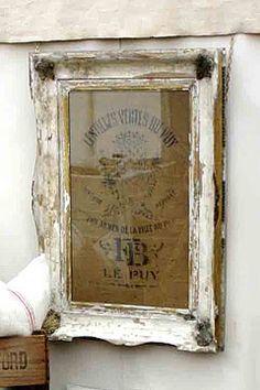 wall art, wall displays, shabby chic, grain sack, antique linens, old frames, vintage frames, burlap bags, feed sacks