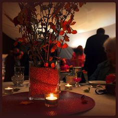 fall wedding centerpieces with grains and branches