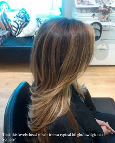 Dark brown to carmel blonde Ombre with balayage highlights. Hair by Danni Sjoden at Phoebe Therese Salon in Denver, CO.
