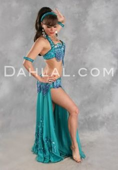 $649.95 HARMONIOUS GREAT LOOP ENSEMBLE in Teal and Lavender by Designer Pharaonics of Egypt, Egyptian Belly Dance Costume