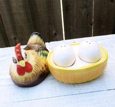 Vintage Kelvin Hen on Nest Salt and Pepper Shakers Set, Made in Japan. $18.00, via Etsy.