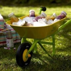 Great place for bottled drinks... kid drinks, kid garden, wheels, coolers, gardens, garden parties, backyard, cold drinks, party drinks