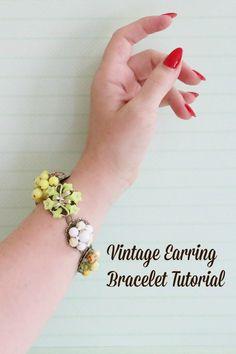 enchant bracelet, singl earring, vintage earrings, bracelet tutori, vintag earring, bracelet vintag, vintage earring bracelet, craft rooms