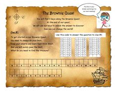 Brownie Quest journey. Our 1st is Letterboxer, and the 1st key in the Journey is Discover. So, I made up this puzzle  (answers are Map, Compass, Friends, and Persistence) which answer what they need for Letterboxing, but also what they need to Discover about themselves to do anything (begin with the end in mind, know what's right, have a support system, and work hard).