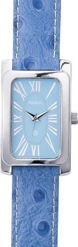 Avalon Ladies Silver-Tone Faux Ostrich Leather Strap Watch # 8609BU Avalon. $14.95. Accurate Japanese Analog Quartz Movement. Includes a Nice Gift Box. This Watch Features a Beautiful Blue Faux Ostrich Leather Strap. Lifetime Limited Warranty. Shiny Rectangular Case with Roman Numerals on a Blue Dial