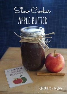 Slow Cooker Apple Butter Mason Jar Gift {Gifts in a Jar} Slow Cooker Country Apple Butter