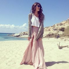Maxi skirt with slit down the side