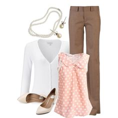 Work Outfit - Business Casual for Women. I am obsessed with that pink polka dot shirt! Where get I get it!!?