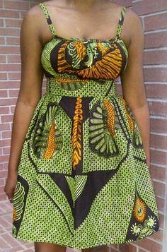 African Print Pleated Sun Dress