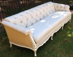 Vintage Sofa French Provincial Wood Frame Custom Tufted Upholstery Linen Burlap Nailheads White Painted Sofa wood frame