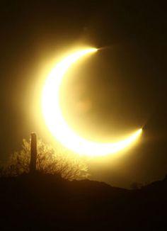 A partial solar eclipse over the Phoenix Mountain Preserve in Phoenix 5/20/2012
