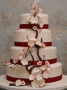 cherry blossom wedding cake by RatherTempting, via Flickr