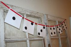 Decor - Dice garland; Game Night Party  Game Night theme - blue and gold banquet