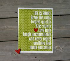 Life is Short original digital print with by hairbrainedschemes, $15.00