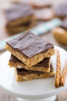 No Bake Peanut Butter Pretzel Bars are so easy a kid can make them!