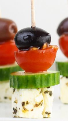 Greek Salad Skewers ~ This super easy appetizer tastes just like a Greek salad on a stick.