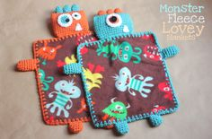 Repeat Crafter Me: Monster Fleece Lovey Blankets with crochet