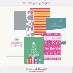 Free Merry & Bright Journaling Card Cards From Danielle Young {on Facebook}