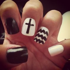 Cross and chevron nails nail design