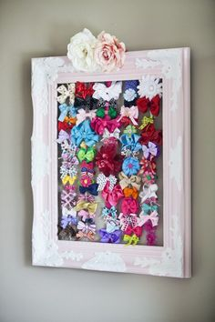 Bow holder using antique frame - #nursery #decor