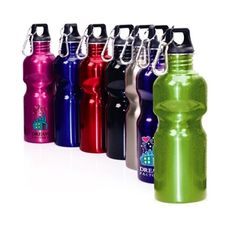 24 oz stainless steel single walled sports bottle with carabineer. Dishwasher safe. $5.83