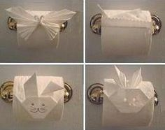 Toilet paper origami.  Toilet paper fun for the bathroom. Found via TipJunkie.com