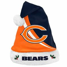 Chicago Bears Swoop Logo Santa Hat - Navy Blue/Orange