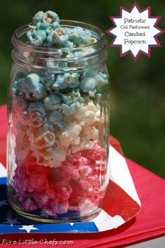 Patriotic old Fashioned Candied Popcorn by fivelittlechefs.com - this old fashioned candied popcorn is fast and so yummy. Perfect for parties and celebrations #popcorn #candy #recipe #party food