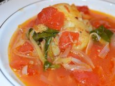 Fish Soup with White Wine, Crushed Tomatoes, Leeks and Spinach