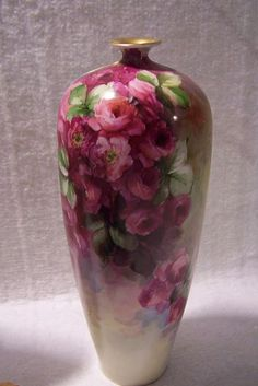 Extremely Delicate & Romantic Late 19th Century Victorian Rose Vase entirely hand-painted on Vienna Austria Porcelain Blank- Absolutely Exquisite!